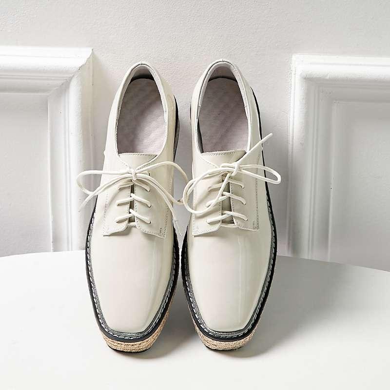 2019 ручной работы высокого Женская модная весенняя Классическая обувь высокого качества обувь с квадратным носком на шнуровке соломинка де... - 2