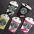 Silicone dos desenhos animados 3d copo de café starbucks telefone capas para iphone 4 4s 5 5s se 6 6 s 7 para samsung galaxy s3 s4 s5 s6 s7 edge plus
