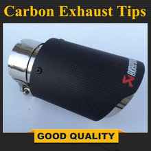 Free Shipping: 1PCS 63mm Inlet 89mm Outlet Stainless Steel Akrapovic Carbon Fiber Exhaust Tip for VW AUDI BENZ BMW PORSCHE 1pc akrapovic 89mm size car modification carbon fiber exhaust muffle pipe for benz bmw audi porsche cadillac honda buick ford