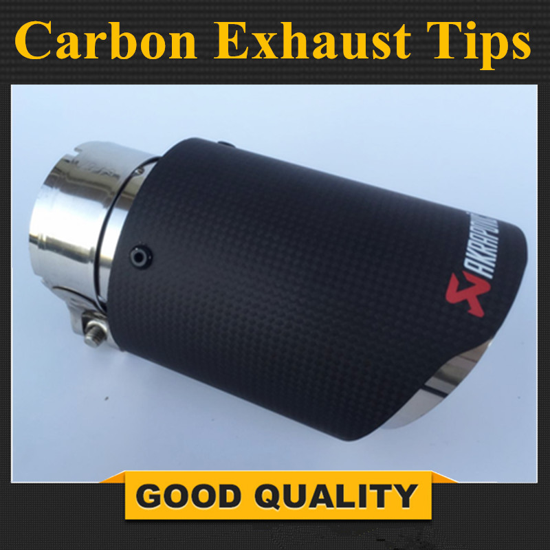 Free Shipping: 1PCS 63mm Inlet 89mm Outlet Stainless Steel Akrapovic Carbon Fiber Exhaust Tip for VW AUDI BENZ BMW PORSCHE