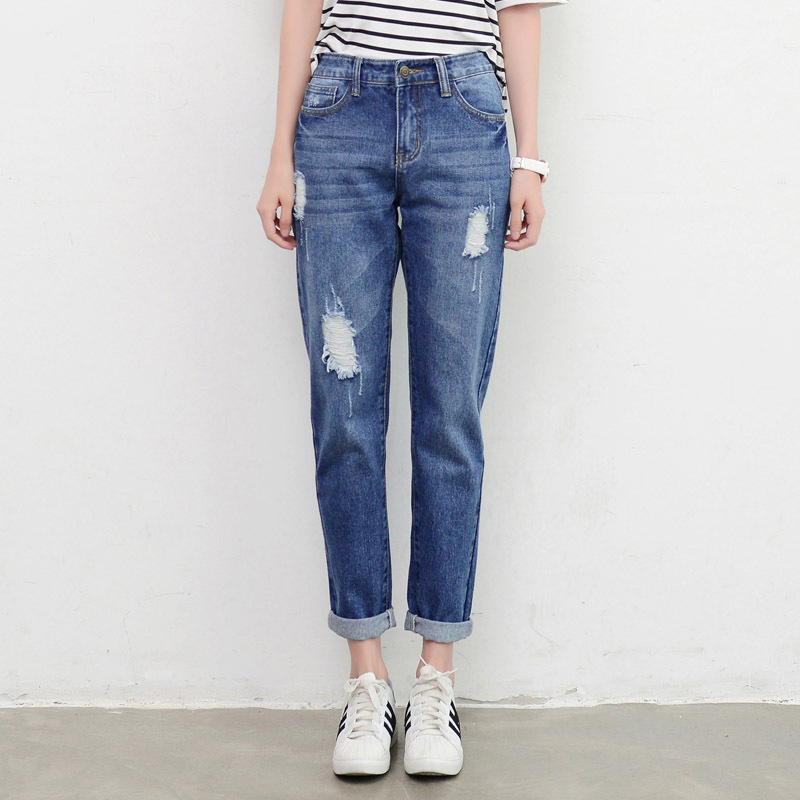 Women`s Plus Size High Waist Washed Blue True Denim Pants Boyfriend Jean Femme For Women Casual Jeans Slim Straight Trousers fashion women high waist blue jeans denim pants boyfriend jean femme jeans trousers plus size s 2xl