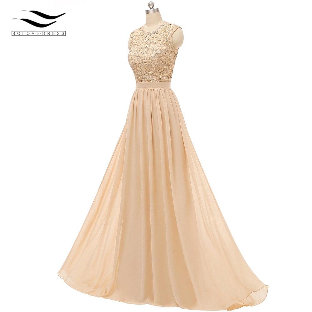 Solovedress Chiffon Cap Sleeves Champagne Lace   Bridesmaid     Dress   Real Formal vestido de dama de honra For Beach Wedding PGE0029