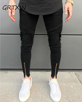 2019 New Men Ripped holes jeans Zip skinny biker jeans black white jeans with Pleated patchwork slim fit hip hop jeans men pants