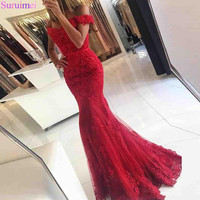 Lace Applique Red Mermaid Evening Dresses 2018 Custom made Court Train Sleeveless Beads Formal Emerald Green Party Evening Dress