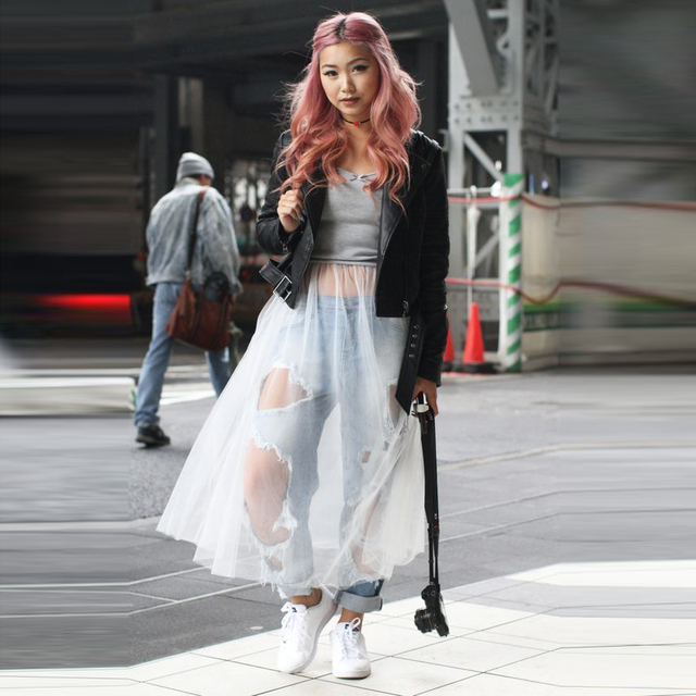 3d9c1f7e86 New Arrival Top Fashion Skirts Women A Line Tee Length Midi Skirt Street  Style Sheer Transparent White Tulle Skirt