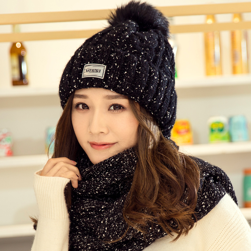 5 Colors 2 Pieces Hat And Scarf Women Winter Long Knit Fur Scarf Hat Scarf Winter Cashmere Knitting Wool Cap Warm Female Leisure