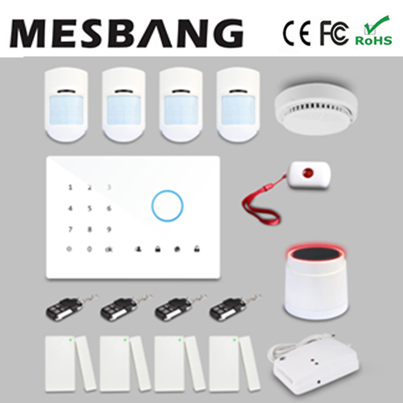 Home gsm security burglar alarm system with English, Russian, Spanish, German, French  with app control free shipping by DHL cheap helpful home security gsm alarm system with app control 3 wired and 70 wireless defense zones burglar alarm system