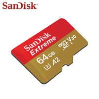 Sandisk carte mémoire originale carte Micro SD extrême A2 A1 V30 U3 carte Flash 64GB 32GB TF carte 128GB mémoire Microsd pour Smartphone