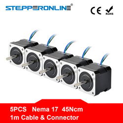 Бесплатная доставка! 5 шт. 4 приводят Nema 17 шаговый двигатель 42bygh 40 мм 1 м кабель 45Ncm (64oz. в) 2A 17hs4401 шагового двигателя для 3D-принтеры
