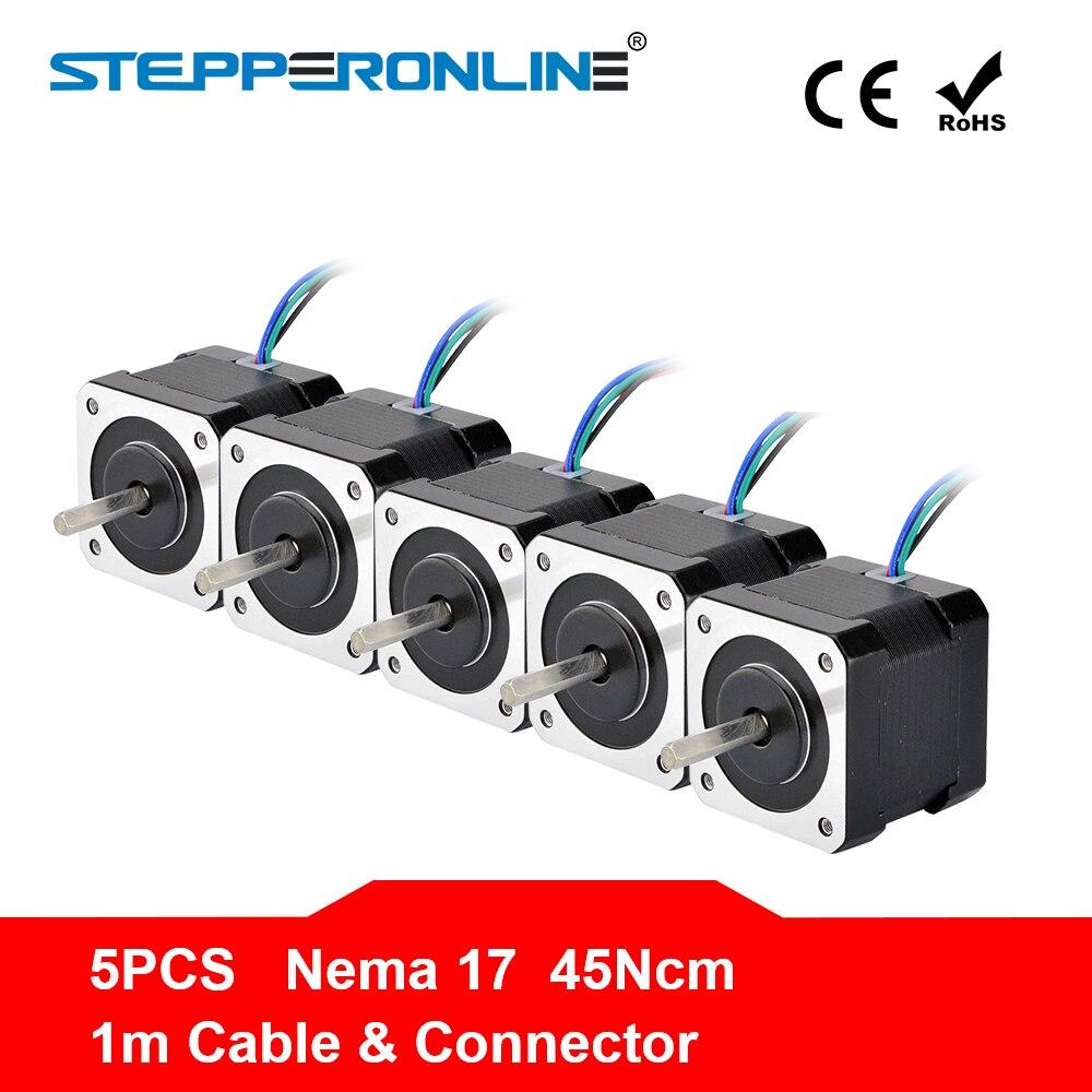 ספינה חינם! 5PCS 4 להוביל Nema 17 מנוע צעד 42BYGH 40mm 1m כבל 45Ncm (64oz. ב) 2A 17hs4401 צעד מנוע עבור 3D מדפסת