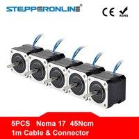 Free Ship ! 5PCS 4 Lead Nema 17 Stepper Motor 42BYGH 40mm 1m Cable 45Ncm (64oz.in) 2A 17hs4401 Step Motor for 3D Printer