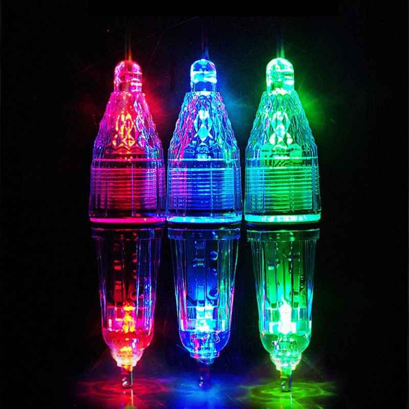 Luz LED de pesca nocturna alimentada por batería con caída profunda, buscador de peces bajo el agua, señuelo, lámpara de atracción intermitente, herramientas de pesca