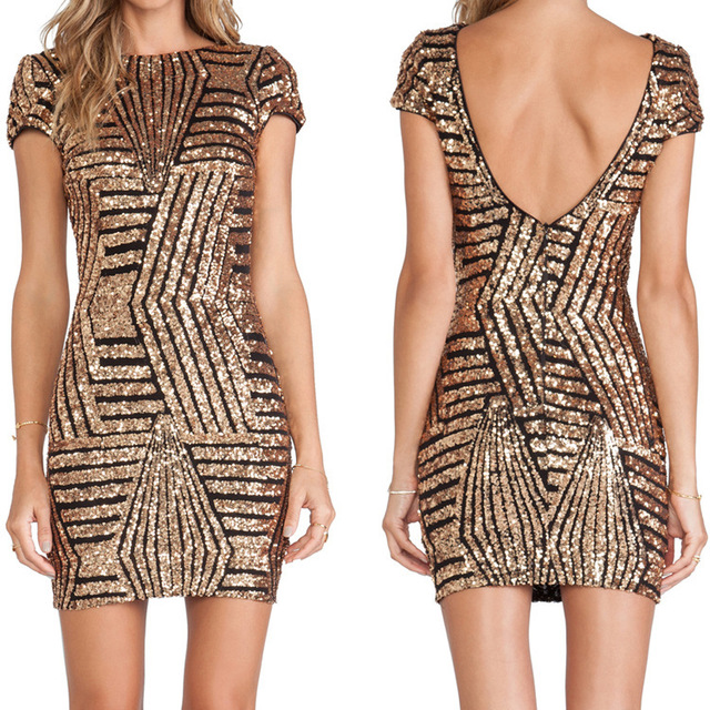 2015 Fashion New Bodycon Novelty Dress Women Sexy Slim Hip Club Mini Gold Silver Party Backless Dresses Sequins Dress