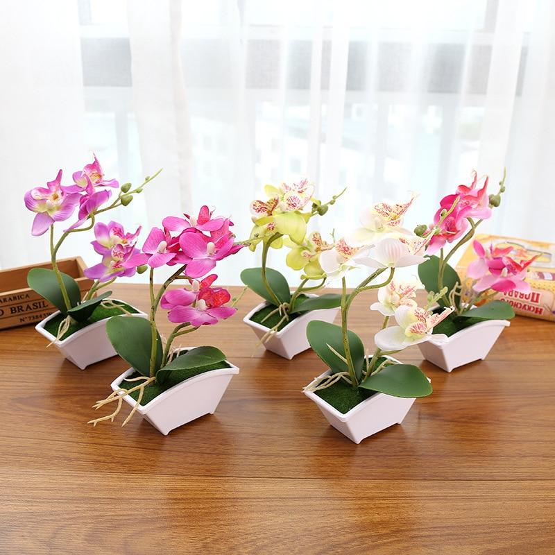 1 комплект, модное украшение, искусственные растения в горшке, 2 вилки, фаленопсис, креативные бонсай для дома, свадебные украшения, сделай сам, принадлежности