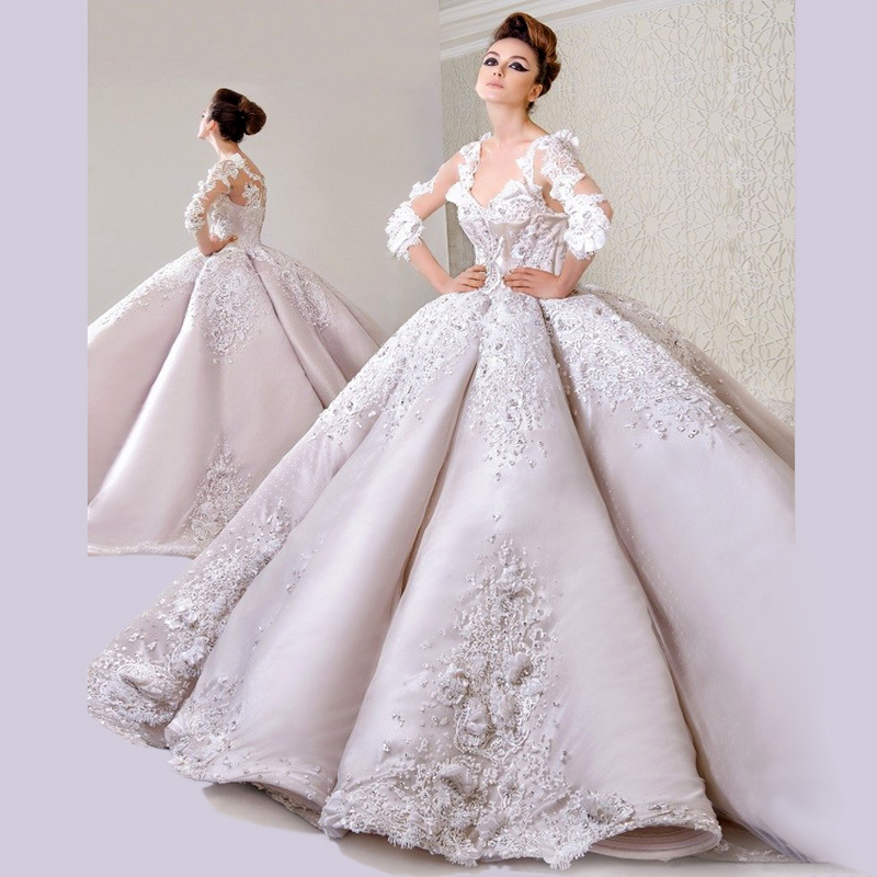 Robe de Mariage 2017 Luxury Crystal Beaded Ball Gown Wedding Dresses ...