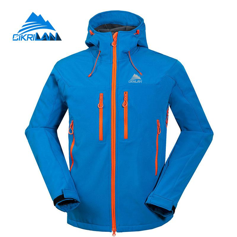 Sports Hiking Camping Outdoor Softshell Jacket Men Trekking Hooded Fleece Inner Coat Autumn Winter Climbing Jaqueta Masculino