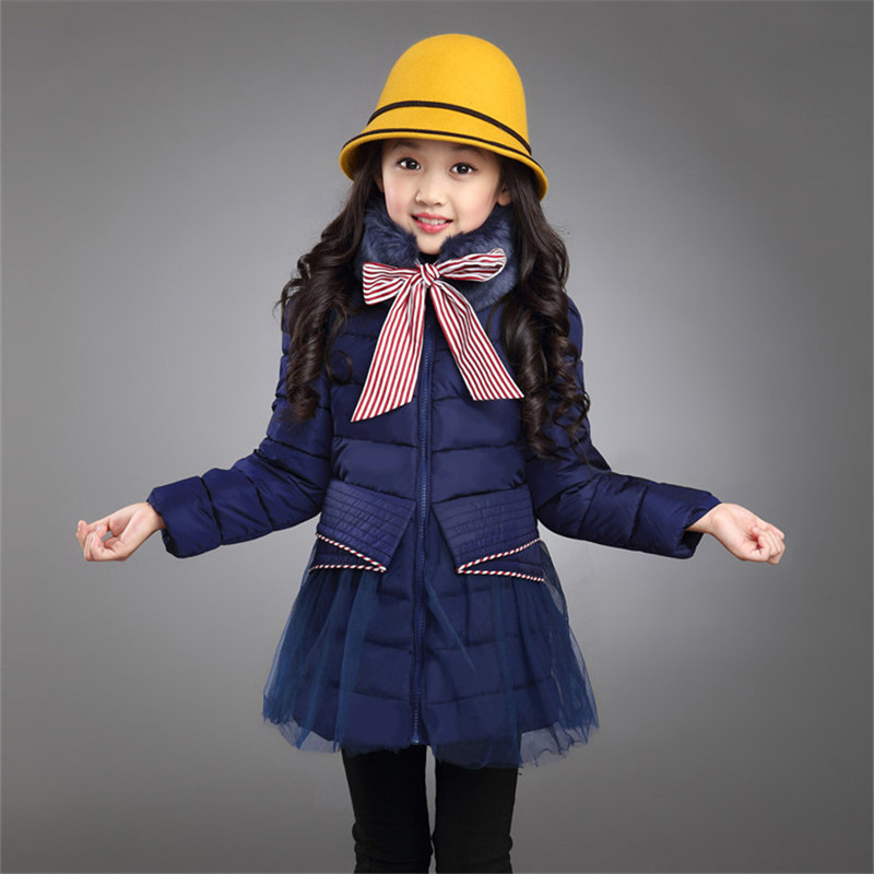 Winter Jacket For Girls New Brand Arrivals 2016 Korean Style Fashion Fur Collar Warm Kids