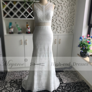Image 4 - Mryarce New BOHO Chic Unique Lace Wedding Dress Bohemian Long Bridal Gowns Amazing Tassel Open Back vestido de noiva