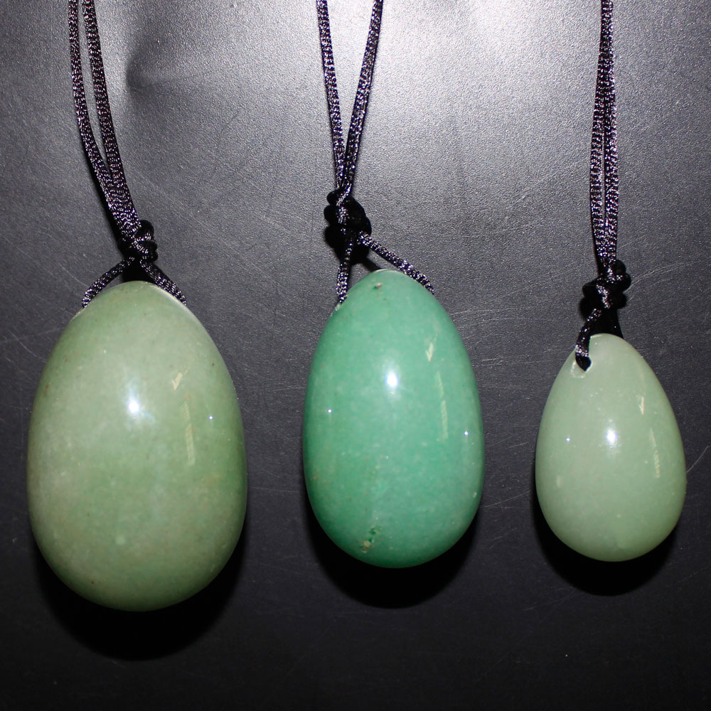 3pcs/set Jade Egg Drilled Natural Green Aventurine Yoni Egg healing stone for women Kegel Exercise Reiki chinese green jade drilled yoni egg for kegel with drilled hole on top