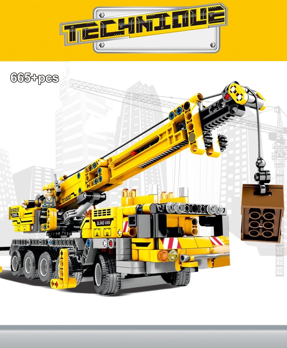 """конструктор huiqibao """"строительный кран"""", 665 шт."""