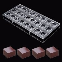 24 Square Shaped Clear Plastic Polycarbonate PC Chocolate Moulds Sweet Candy DIY Mold Handmade Chocolate Tools