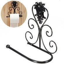 Portarrollos de papel higiénico de hierro, soporte para pared de baño, soporte para papel higiénico, 1 uds, soporte de papel negro Vintage