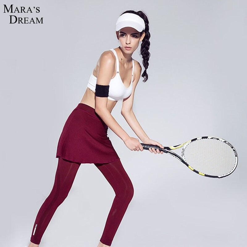 Prix pour Femmes de Sport remise en forme de yoga Pantalon Faux deux Pièces à manches longues À séchage Rapide remise en forme pantalon De Yoga culottes de course Corne divisé jupe