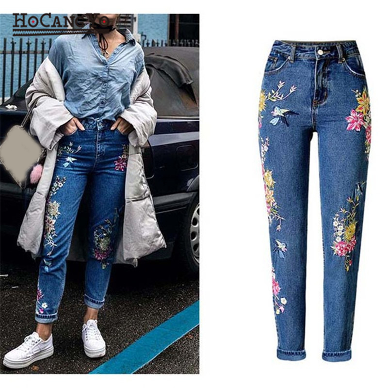 Plus Size Womens Straight Leg Jeans Floral Embroidery Denim Pants Pockets Casual