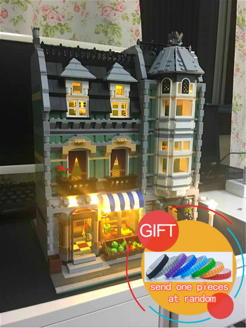 15008B 2462Pcs City Street Series The Light Version Green Grocer set Model Building Kits Blocks Toys Compatible with 10185 lepin dhl lepin15008 2462pcs city street green grocer model building kits blocks bricks compatible educational toy 10185 children gift