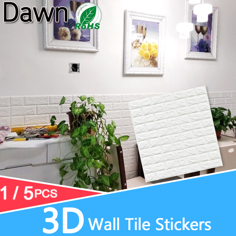5pcs 3D Wall Stickers Marble Brick Waterproof Wall Paper Self-Adhesive Decor Background For Kids Room Living Room Wall Sticker