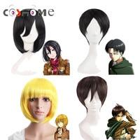 Coshome Attack On Titan Wigs Mikasa Levi Sasha Eren Cosplay Costume Wig Black Yellow And Brown