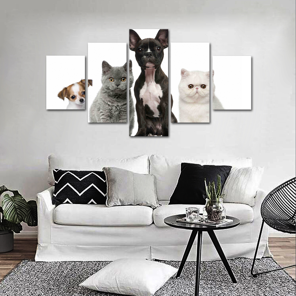 Unframed HD Print 5 Canvas Art Painting Cats and Dogs Living Room Decoration Spray Painting Mural Unframed Free Shipping
