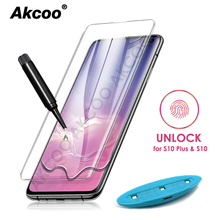 Akcoo S10 Tempered glass screen protector unlock with fingerprint UV Glass full glue film for Samsung galaxy S8 9 Plus note 8