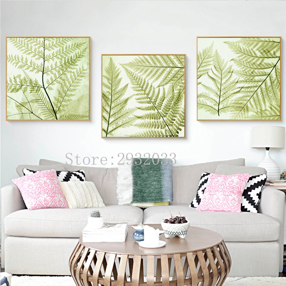 Nordic Abstract Printed Leaves Canvas Painting Still Life Plants ...