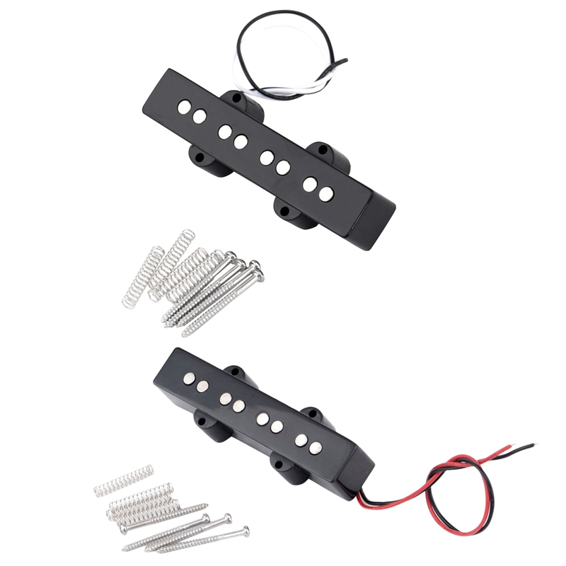 2 Pcs Pro Electric Bass Open Type Noiseless Bridge Pickup For 4 String Jazz Bass Jb Style,Black (95X18.3Mm With 92X18.3Mm)