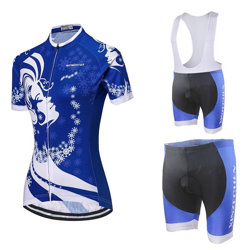 Weimostar синий снег Для женщин велосипед одежда летняя Vélo Велосипедная форма дышащий велосипед рубашка нагрудник шорты комплект