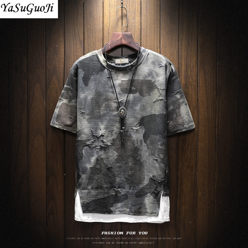 New arrival 2018 summer fashion letter print camouflage short sleeve t shirt for men men's military streetwear t-shirt DTX2 23