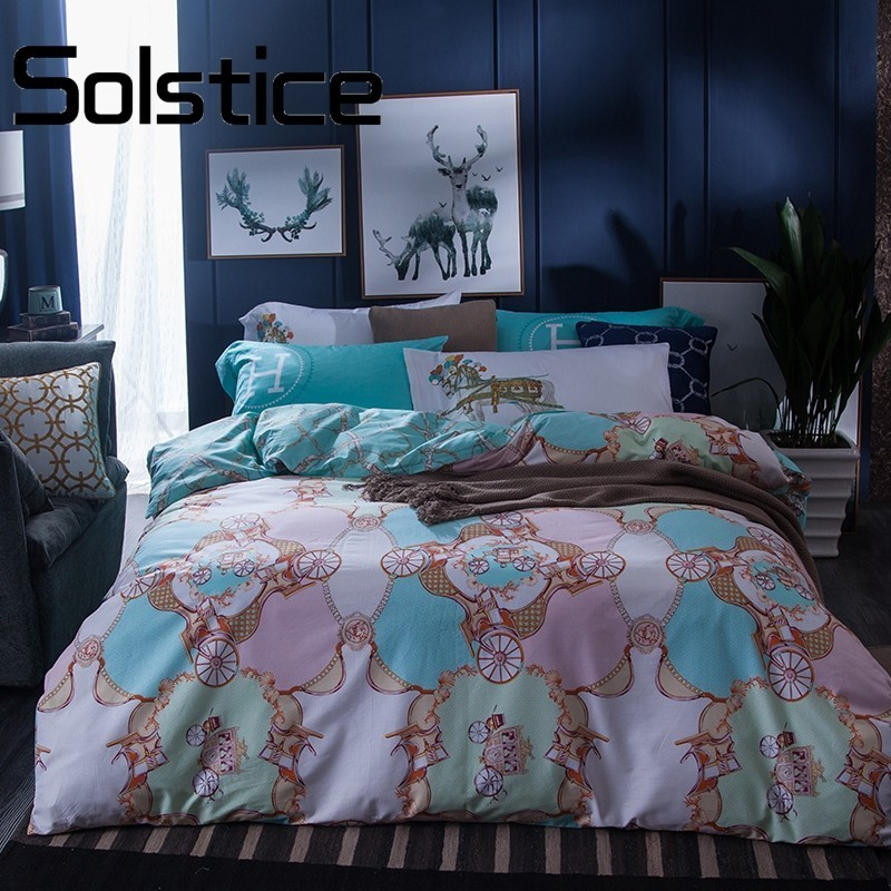 Solstice Home Textile Luxury Carriage Pattern Printed 4Pcs Twin Full Great Brand Series One Claire Duvet Cover Sets