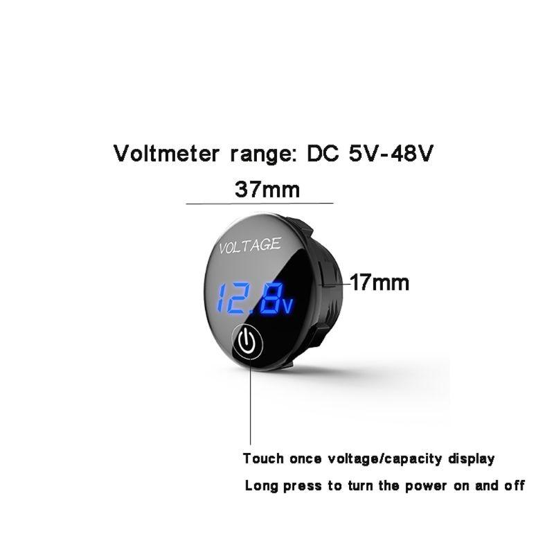 DC 5 V-48 V светодиодный Панель цифровой Напряжение метром автомобильный Мотоциклетные батареи Ёмкость Дисплей вольтметр с сенсорный переключатель включения/выключения