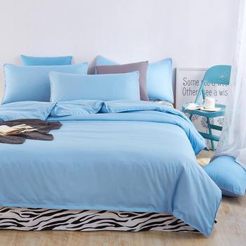 4pieces/set Soft Cotton Bedding set linens Nature Style for kids Skyblue Duvet cover Pillowcases Black white strip Flat sheet
