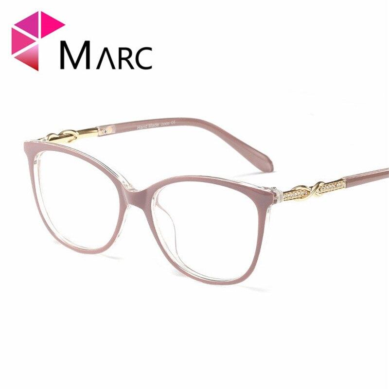 MARC Frame Glasses Fashion 2019 Eyeglass Women Clear Lens Cat Eye Metal Krystal Solid Resin Oculos Plastic Frame Female 1