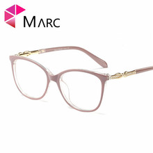 MARC Frame Glasses Fashion 2019 Eyeglass Women Clear lens Cat eye Metal Krystal Solid Resin Oculos Plastic Female 1