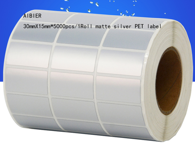 US $42 48 15% OFF|AIBIER 30x15mm*5000pcs/1Roll Waterproof paper Thermal  transfer blank PET barcode Labels PET adhesive printed label sticker-in