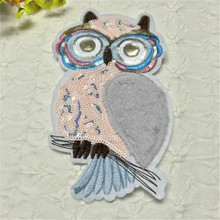 Girl men clothes sequins pu animal patch deal with it 23cm owl iron on patches for clothing t shirt/jeans/dress free shipping