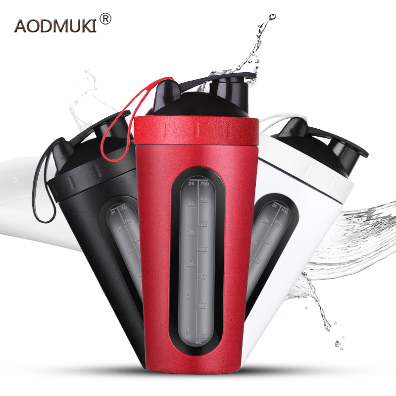 700m/28OZ Stainless Steel Shaker Bottle With Whisk Ball Whey Protein Water Bottle Leakproof Gym Mixer Sports Shaker With Win