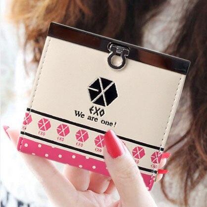 2016 Korean Fashion Women PU Leather Wallet Printed Female Purse Exo Ladies Clutches New Brand Card Holder Valentine's Day Gift