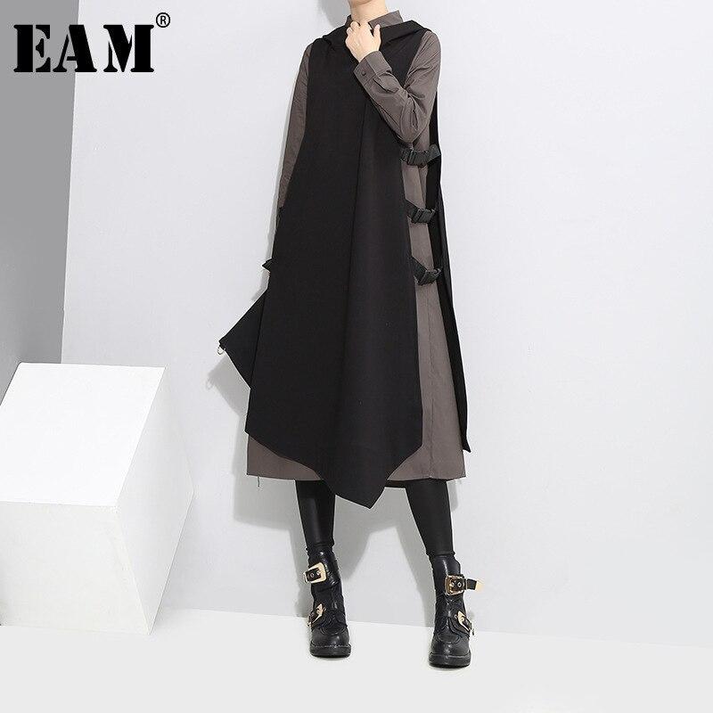 [EAM] 2018 осень новый шаблон с лацканами боковые вентиляционные жилет Черный, серый цвет двойка с длинными рукавами платье Для женщин моды прил...