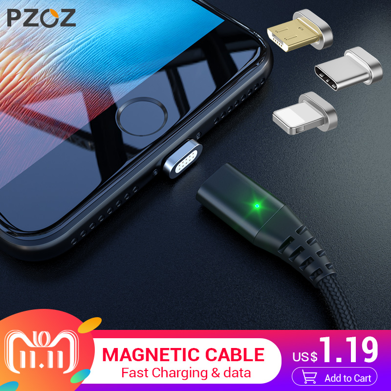 PZOZ Magnetic Cable Micro usb Type C Fast Charging Adapter Phone Microusb Type-C Magnet Charger usb c For iphone Samsung xiaomi цены онлайн