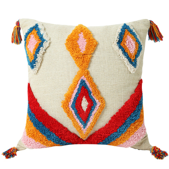 Tufted Pillow Cover Boho Cushion Cover 100% Cotton Wedding Pillow Cover Boho Home Decor, Custom Size and Color 45X45CM/40CMRD