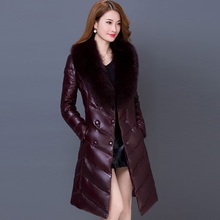 Women's Down Jacket Long Coat Hooded Winter Big Fur Collar Warm Outerwear Slim Thick Cotton Down Parkas Black Gray Purple B80011